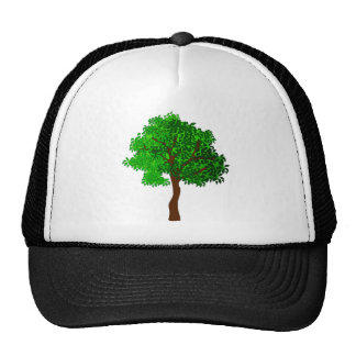 Stylized Green Leafy Tree Mesh Hats