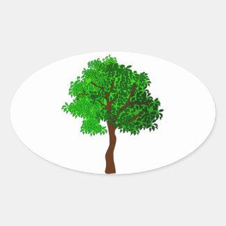 Stylized Green Leafy Tree Oval Sticker