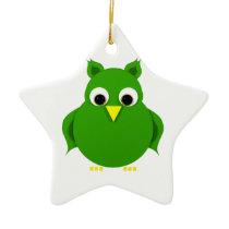 Stylized green owl ceramic ornament