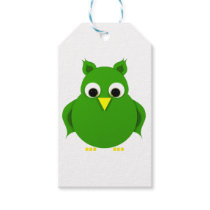 Stylized green owl gift tags
