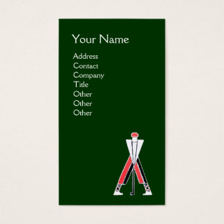 STYLIZED GREEN RED GOLFER,GOLF INSTRUCTOR MONOGRAM BUSINESS CARD