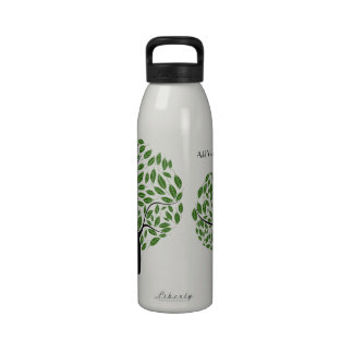 Stylized Green Tree, Personalized Recycled Water Reusable Water Bottle