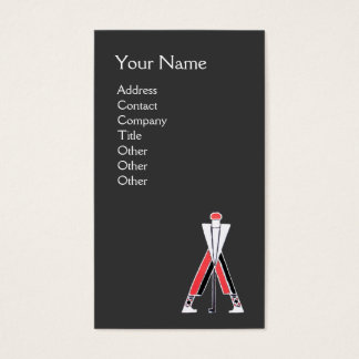 STYLIZED GREY RED GOLFER ,GOLF INSTRUCTOR MONOGRAM BUSINESS CARD
