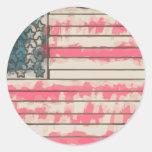 Stylized Grunge USA Flag Adesivo Redondo