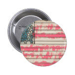 Stylized Grunge USA Flag Pinback Button