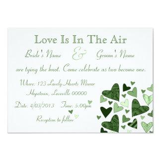 Stylized Hearts Green Custom Wedding Card