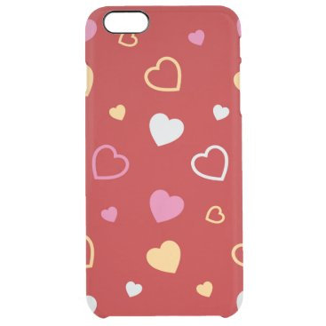 Stylized hearts pattern 2 clear iPhone 6 plus case