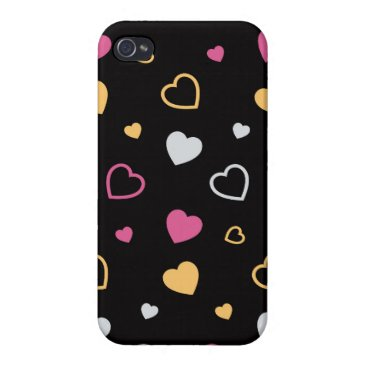 Stylized hearts pattern 3 case for iPhone 4