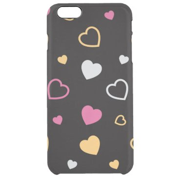 Stylized hearts pattern 3 clear iPhone 6 plus case