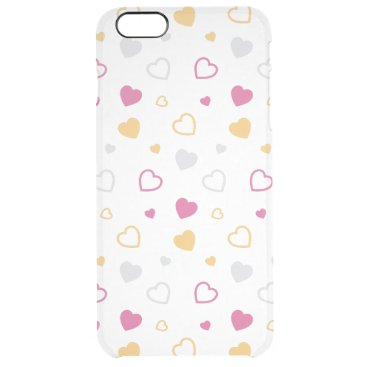 Stylized hearts pattern clear iPhone 6 plus case
