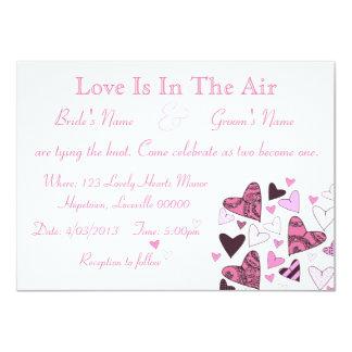 Stylized Hearts Pink Custom Wedding Card