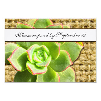 Stylized Hen and Chick Succulent Burlap rsvp Card