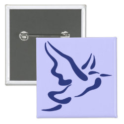 Square Button with Stylized Heron in Flight design