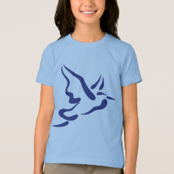 Girls' American Apparel Fine Jersey T-Shirt with Stylized Heron in Flight design