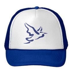 Trucker Hat with Stylized Heron in Flight design