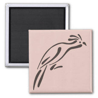 Stylized Hoatzin 2 Inch Square Magnet