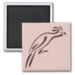 Square Magnet with Stylized Hoatzin design