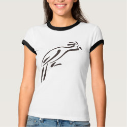 Stylized Hoatzin Ladies Ringer T-Shirt