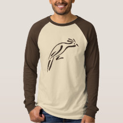 Men's Canvas Long Sleeve Raglan T-Shirt with Stylized Hoatzin design