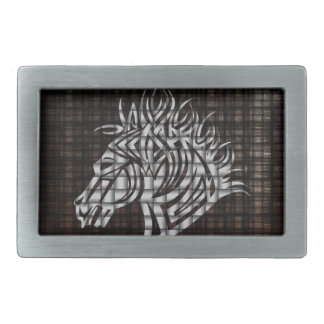 Stylized Horses Head on a woven background Belt Buckle