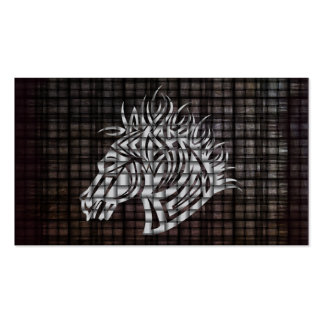 Stylized Horses Head on a woven background Business Card