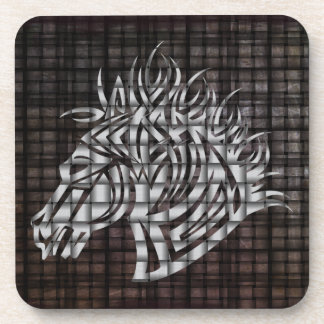 Stylized Horses Head on a woven background Drink Coaster