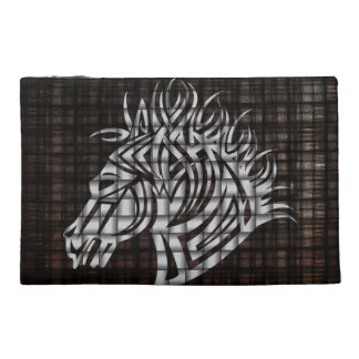 Stylized Horses Head on a woven background Travel Accessory Bag