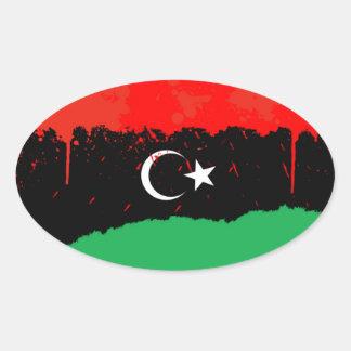 Stylized Kingdom of Libya Flag (1951-1969) Oval Sticker