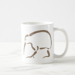 Classic White Mug with Stylized Kiwi design