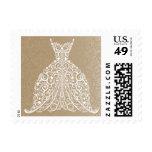 Stylized Lacy Wedding Dress Stamp