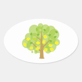 Stylized Lemon Tree Oval Sticker