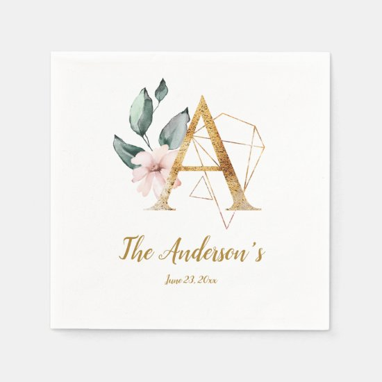 Stylized Letter A Floral Wedding Napkins