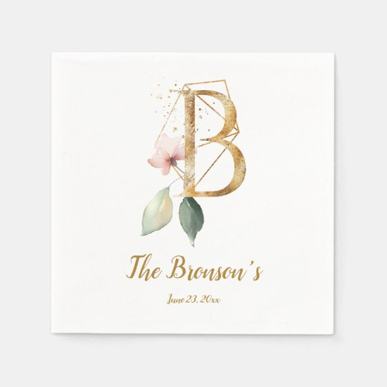 Stylized Letter B Floral Wedding Napkins