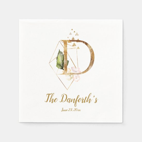 Stylized Letter D Floral Wedding Napkins
