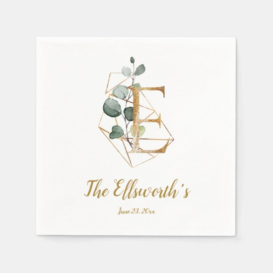 Stylized Letter E Floral Wedding Napkins