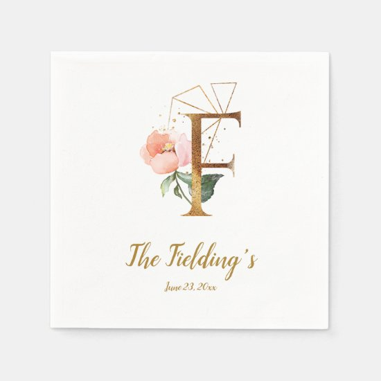 Stylized Letter F Floral Wedding Napkins