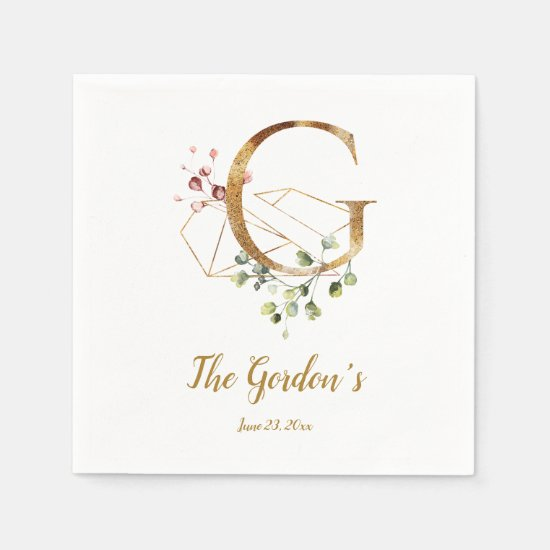 Stylized Letter G Floral Wedding Napkins