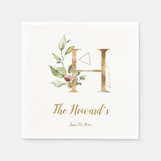 Stylized Letter H Floral Wedding Napkins