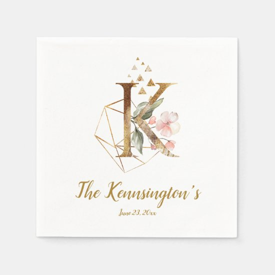 Stylized Letter K Floral Wedding Napkins