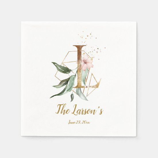 Stylized Letter L Floral Wedding Napkins