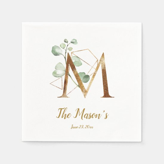 Stylized Letter M Floral Wedding Napkins