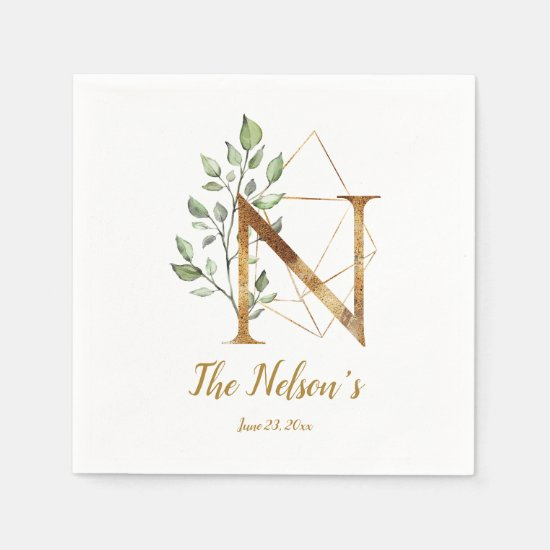 Stylized Letter N Floral Wedding Napkins