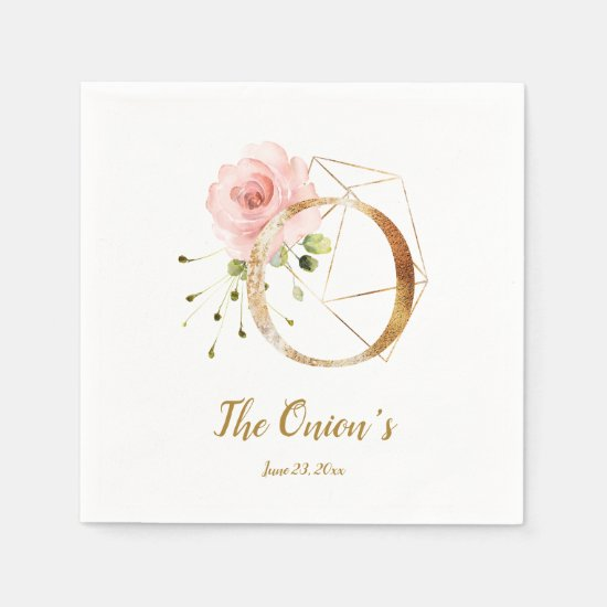 Stylized Letter O Floral Wedding Napkins