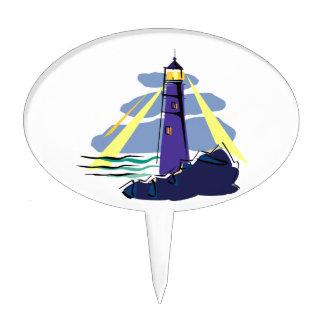 Stylized Lighthouse on Rocks by Sea Shining Lights Cake Pick