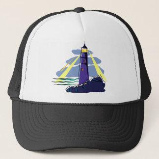 Stylized Lighthouse on Rocks by Sea Shining Lights Trucker Hat