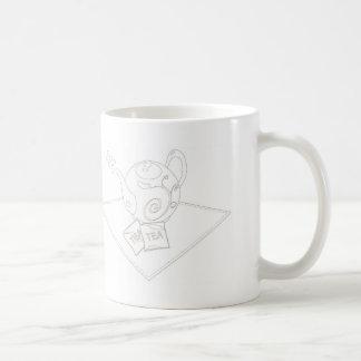 Stylized linework tea pot with tea bags coffee mug