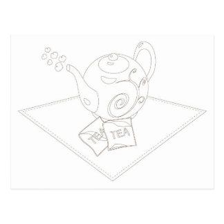 Stylized linework tea pot with tea bags postcard