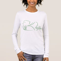 Women's Basic Long Sleeve T-Shirt with Stylized Mandarin Duck design