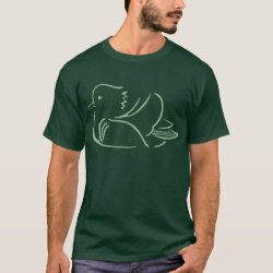 Men's Basic Dark T-Shirt with Stylized Mandarin Duck design