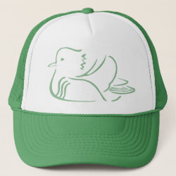 Trucker Hat with Stylized Mandarin Duck design